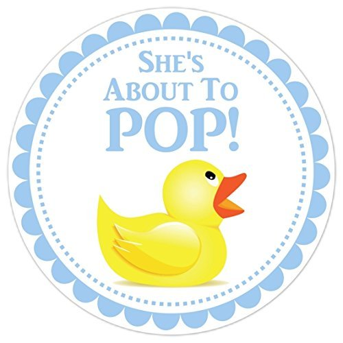 36 baby shower labels blue with rubber duck sheu0027s about to pop stickers about