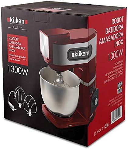 Alfa Robot BATIDORA AMASADORA .INOX.1300W KUKEN Red: Amazon.es