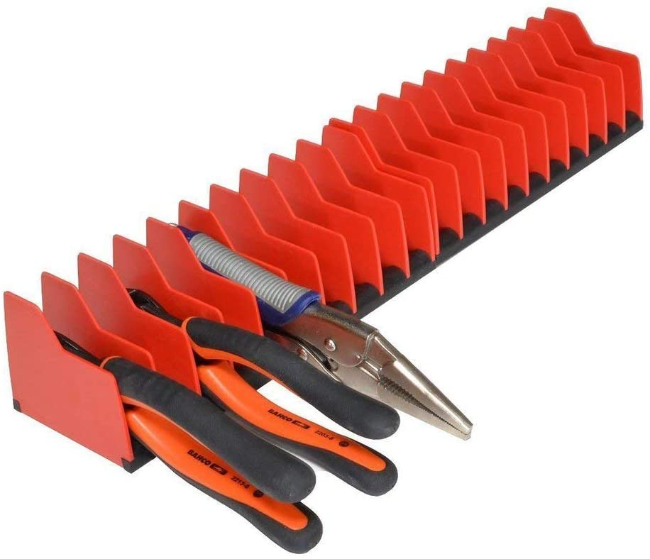 MLTOOLS Pliers Cutters Organizer Pro Non-Slip Rubber Base Fuel Solvent Resistant Durable Long-Lasting Tool Storage Box Rack 10 Tools Plier Organizer Made in USA P8248 2 Pack
