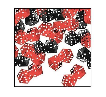 Paquete de 6 negro y rojo Casino dados celebración confeti ...