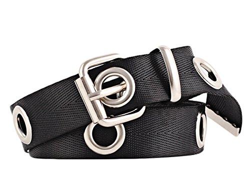 IMAGINE Women's Canvas Web Hole Grommet Buckle Casual Solid Basic Belt 120(BL)