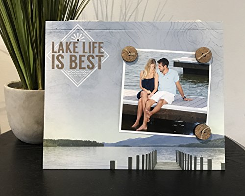 "Lake Life is Best swimming dock national park hiking rustic home decor camping great outdoors gift handmade magnetic picture frame holds 5"" x 7"" photo 9"" x 11"" size"