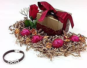Red Ribbon Godiva Holiday Gift Box - Gourmet Truffles Milk Chocolate Candy & Sterling Silver Heart Charm Bracelet (BR)