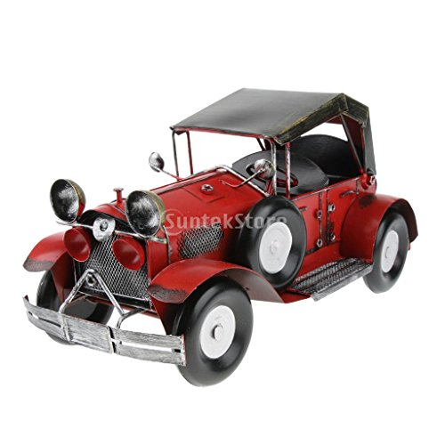 Prettyia Vintage Iron Car Model, Home Bar Decoration, Toy Car, Birthday Gift, Handcraft Collections - Red Vintage by Prettyia