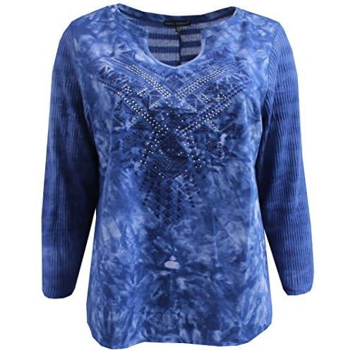1ce21353133 ... T-Shirt Blouse Sweater. low-cost BNY Corner Women s Plus-Size Long  Sleeve Tie Dye Cotton Knit Top