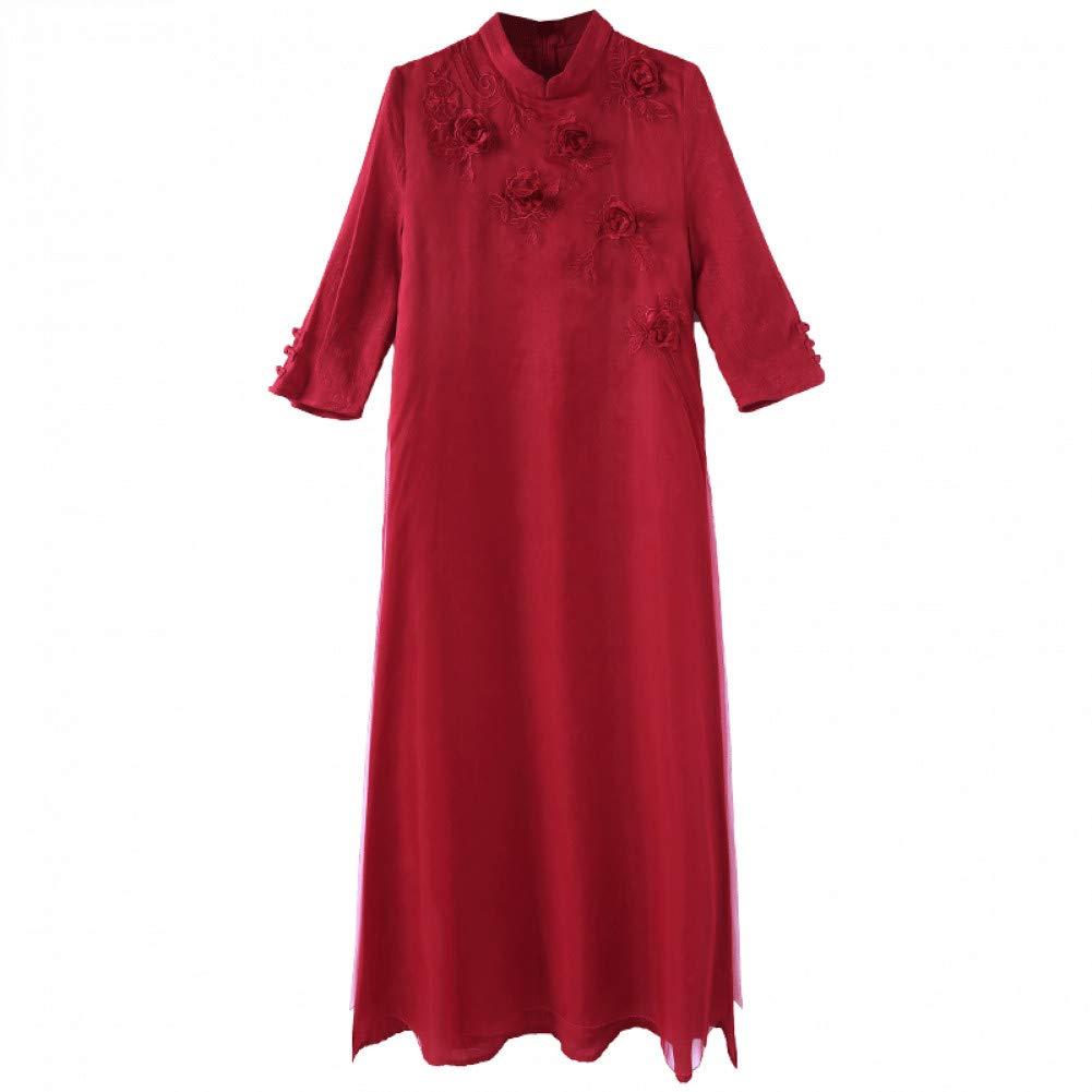 L BINGQZ New women's autumn temperament ladies red silk dress improved cheongsam dress skirt