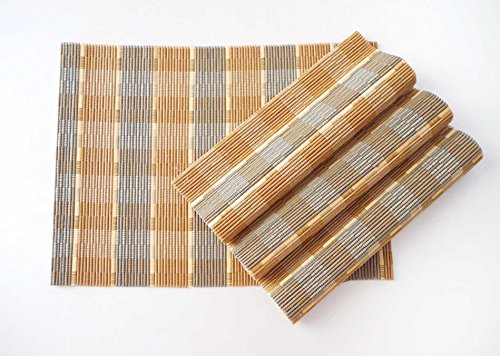 Bamboo Placemats Set of 4, Natural table mats are handmade with sticks of bamboo and string for a unique design, eco-friendly (Natural/Grey) -