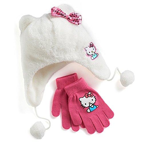 Hello Kitty® Girls 4-16 Faux-Fur Plush 3D Hat & Gloves Set