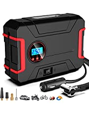 Portable Car Air Compressor Pump 12V Digital Tire Inflator Auto Tire Pump with Gauge and Emergency LED Lighting, Digital Air Pump for Car Tires Motorcycle Basketball and Other Inflatables