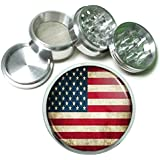 Vintage American Flag D1 Herb & Spice Grinder 63mm 4 Piece Aluminum Silver Metal Patriotic Freedom American Heroes Veterans