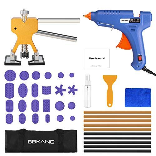 (BBKANG Paintless Dent Repair Tools - Car Dent Removal Kit Golden Dent Lifter Bridge Dent Puller Slide Hammer T-Bar Tool for Car Dent Door Ding Hail Dent Remover Repair)