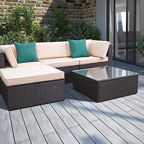 Devoko Patio Furniture Sets 5 Pieces Outdoor Sectional Sofa Wicker Rattan Patio Sofa Sets with Cushion and Glass Table (Lake Blue Pillow)