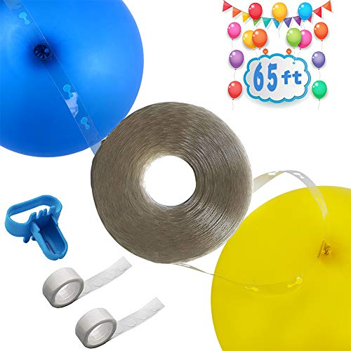 Long! 65ft Reusable Balloon Tape Strip, Balloon Arch Garland Decorating Strip Kit, with Tying Tool, Dot Glue, for Party Wedding Birthday Xmas Baby Shower Anniversary DIY Decorations
