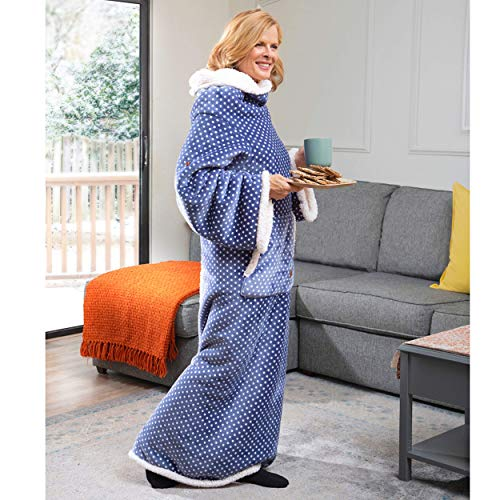 CozyRosie Wearable Sherpa Fleece Blanket with Sleeves for Adults Allows You to Button Up and Go - Extra Soft, Warm and Cozy Throw Makes for a Great Gift for Mom, Dad, Grandma or Grandpa (Ocean Blue)