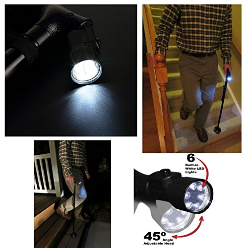 Kitchen Krush Travel Adjustable Folding Canes and Walking Sticks for Men and Women with Led Light and Cushion Handle for Arthritis Seniors Disabled and Elderly Best Mobility Aids Cane by Kitchen Krush (Image #6)