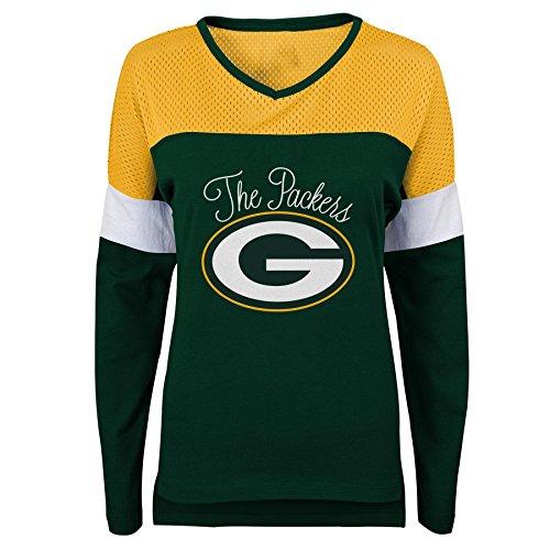 Outerstuff NFL NFL Green Bay Packers Juniors Team Blocker Long Sleeve Tee Hunter Green, Juniors X-Large(15-17)