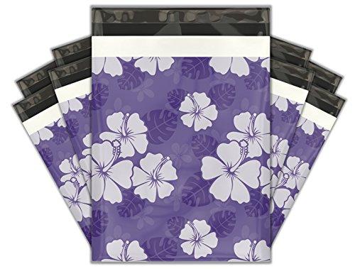 10x13 (100) Purple Hibiscus Flower Designer Poly Mailers Shipping Envelopes Premium Printed Bags