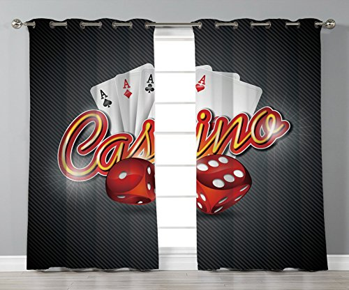 Thermal Insulated Blackout Grommet Window Curtains,Poker Tournament Decorations,Vibrant Dices and Playing Card Casino Theme Luck Risky Game,Multicolor,2 Panel Set Window Drapes,for Living Room Bedroom