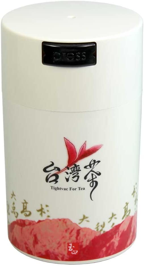 Teavac 6-Ounce Vacuum Sealed Tea Storage Container, White Cap and Body/Red Tea Sign