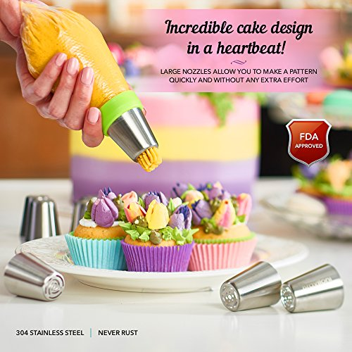 Russian Piping Tips - Cake Decorating Supplies - 39 Baking Supplies Set - 23 Icing Nozzles - 15 Pastry Disposable Bags & Coupler - Extra Large Decoration Kit - Best Kitchen Gift by Braviloni (Image #3)