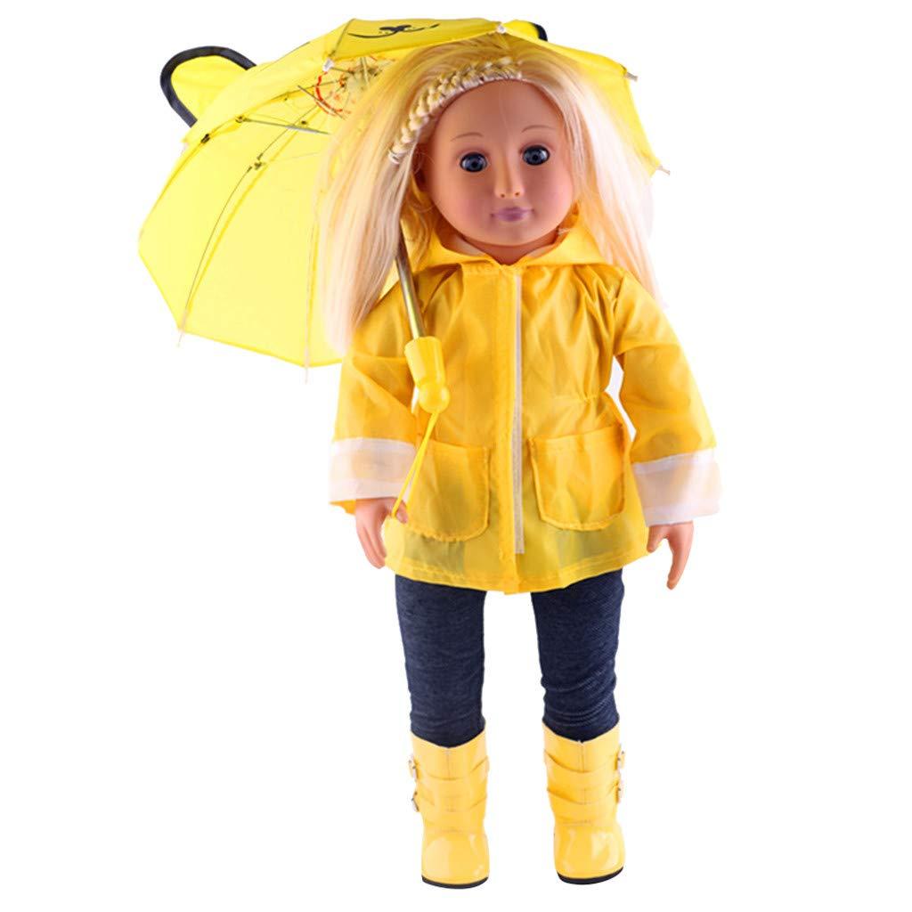 Traje de Chubasquero,6 Piezas Chubasquero Impermeable+Camiseta+Sombrero+Pantalones+Botas+Paraguas para18 Pulgadas Americana Muchacha Muñeca Gusspower