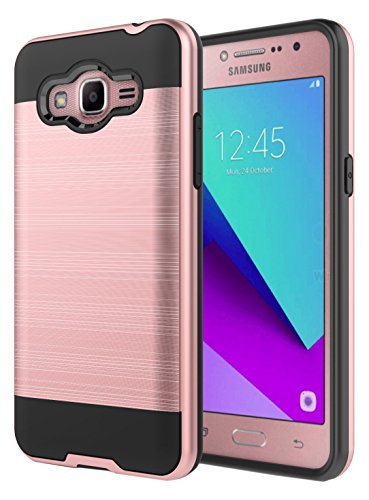 Hasting AMP2BRUSHEDRG, Samsung Galaxy Luna Case for J1 (2016) Case, Galaxy Amp 2 Case, Galaxy Express 3 Case, Dual Layer Slim Fit Shock-Proof Brushed Texture Hybrid Protection Case Cover - Rose (Added Protection Iii Iron)