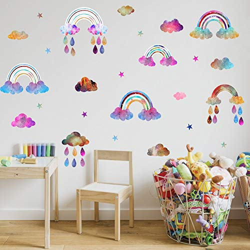 52pcs Multicolor Decals IARTTOP Rainbow Wall Decal Attractive Watercolor Removable Vinyl Sticker for Kids Room Nursery Decor