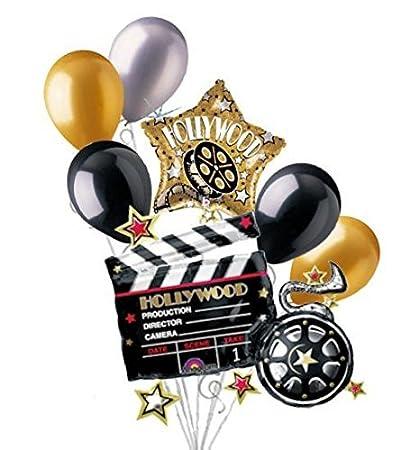 Amazon.com: 7 pc Hollywood claqueta película ramo de globos ...