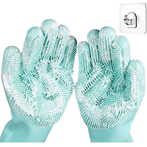 Sumail Magic Silicone Dishwashing Scrubber Dish Washing Sponge Rubber EZ Scrub Gloves Kitchen Cleaning, x-large, Green (Plate Item Fur Code)