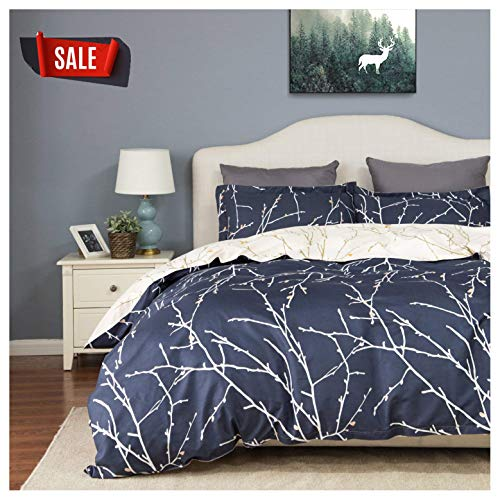Elephant Soft Queen Duvet Cover Set, Premium Microfiber, Denim Blue and Branches Pattern On Comforter Cover-3pcs:1x Duvet Cover 2X Pillowcases,with Zipper Closure (Full/Queen) ()