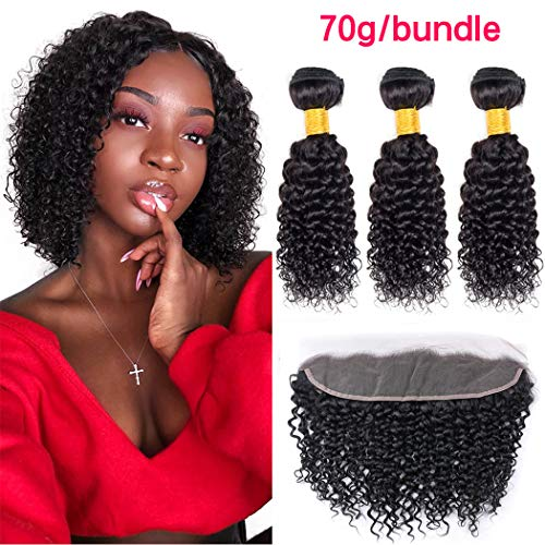 ZILING Brazilian Kinky Curly Hair Bundles With Frontal Closure Free Part Jerry Curl Human Hair Weave 3 Bundles With Lace Frontal 13x4 Ear To Ear Natural Black 8A Grade (10 10 10+frontal 10) (Best Curly To Straight Weave)