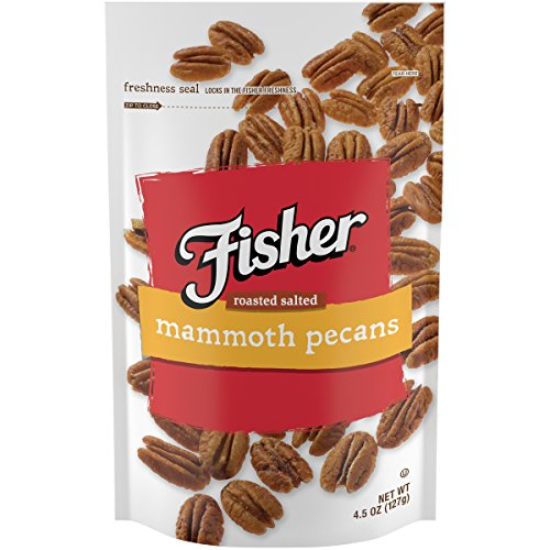 - FISHER Snack Roasted Salted Pecans, Stand-Up Bag, 4.5 oz