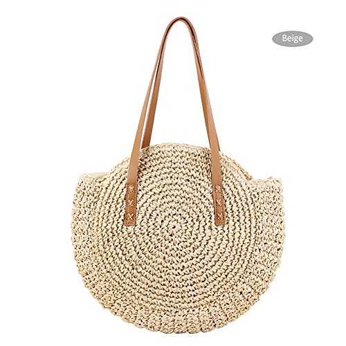 Circular Straw Bag Dual Braided Travel Bag Shoulder Round Beige Awhao Beach Straw Women Sling Outdoor Bag Woven Bag Purpose Beach Crossbody wqY1nEpxA