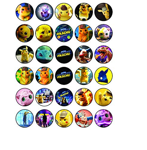 30 x Edible Cupcake Toppers - Pokémon Detective Pikachu Themed Collection of Edible Cake Decorations   Uncut Edible Prints on Wafer Sheet