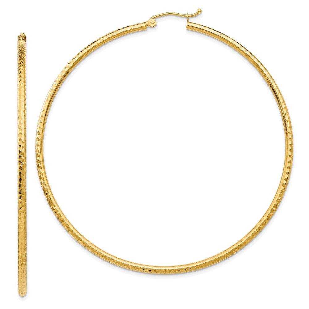 Mia Diamonds 14k Yellow Gold Diamond-cut 2mm Round Tube Hoop Earrings