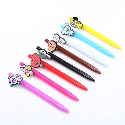 Bosunshine BTS Cute Cartoon 0.7mm Black Pen Neutral Ballpoint Pencil Office School Stationery Product (8pcs/set)