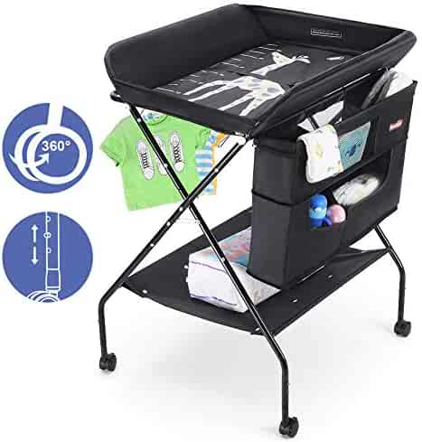 Baby Changing Table with Wheels, FORSTART Adjustable Height Folding Diaper Station Portable Mobile Nursery Organizer for Infant