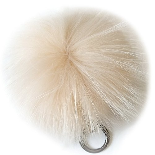 Valpeak 6 Fluffy Raccoon Fur Ball Pom Pom Keychain Womens Bag Charms Key Chain (Beige)