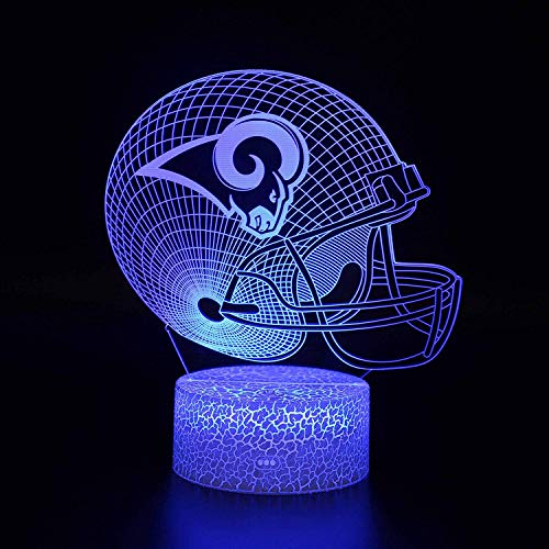 Bigfoot 3D LED Night Light Football Helmet Los Angeles Rams Flat Acrylic Illusion Lighting Lamp with 7 Colors and Touch Sensor, Sports Fan Nightlight Gift for Kids, Boys, Girls, Men or Women