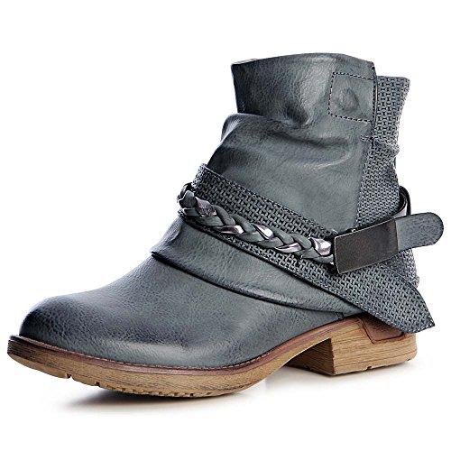 topschuhe24 1260 Damen Worker Boots Stiefeletten Lässig Blogger Blau