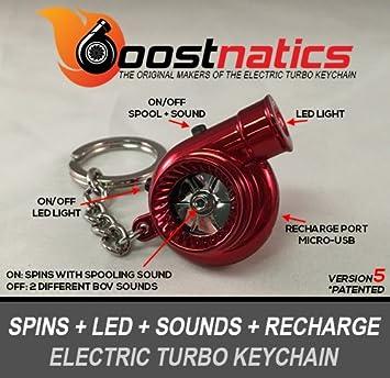 boostnatics eléctrico recargable electrónico Turbo Llavero con sonido + LED. - Rojo Nueva Versión 5 (V5): Amazon.es: Coche y moto