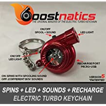 Boostnatics Rechargeable Electric Electronic Turbo Keychain with Sounds + LED! - Red NEW Version 5 (V5)