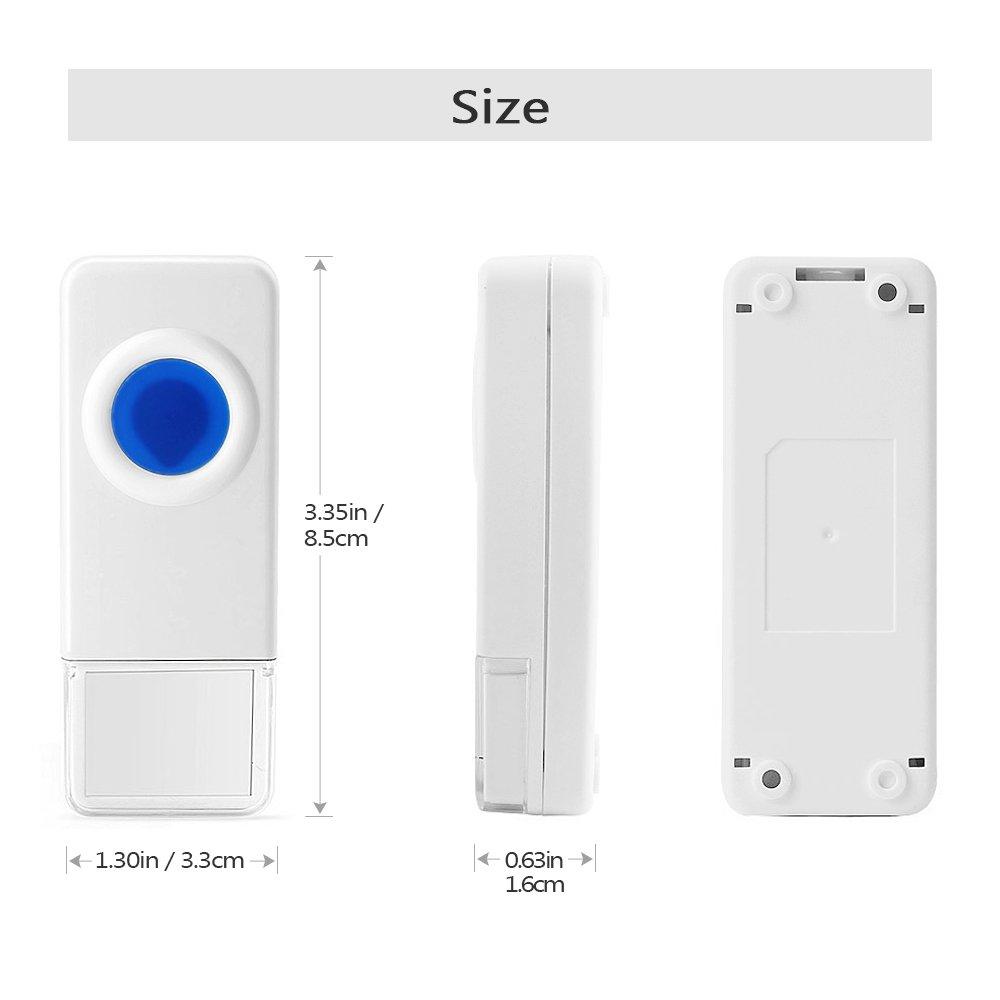 52 Ringtones,4 Level Volume,LED Indicator Door Bell,3 Push Buttons /& 2 Receivers Wireless Doorbell Chime,BITIWEND Wireless Door Bell,Waterproof Cordless Door Chime Kit with 1000ft Range