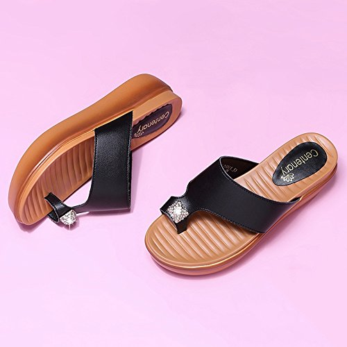 Sandals Flat Black And Retro Eu39 Shoes Pu Optional Summer 5cm Black Height Female Size color Heel Casual 5 uk6 Material White cn40 Amazing r7OHnwEqr