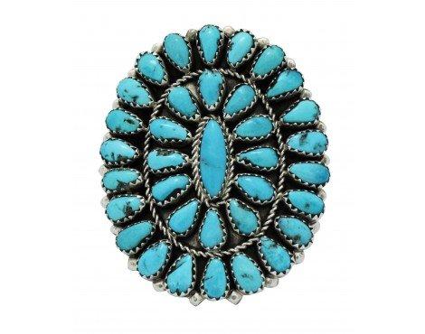 Eunise Wilson, Ring, Kingman Turquoise, Cluster, Navajo Handmade, Silver, (Navajo Silver Turquoise Cluster)