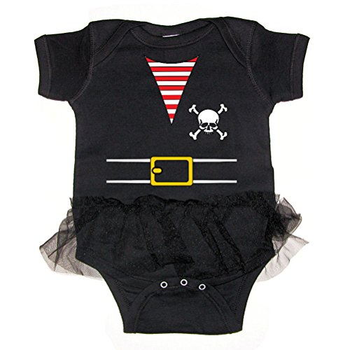 Pirates & Anchors - Pirate Outfit - Baby Tutu Bodysuit (Black, 6 Months)