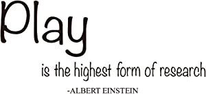 ZSSZ Play is The Highest Form of Research - Albert Einstein Quotes Wall Decals Nursery Room Vinyl Sayings Décor Kids Playroom Art Letters Motto