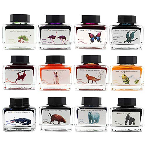 ZZKOKO Calligraphy Set India Ink, 12 Colors Shimmer Dip Pen Ink Set, Art Writing Drawing Ink Bottles, 6.0 oz, Set of 12, Gift Box (Animal Series)