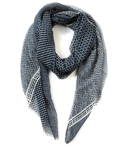 EUPHIE YING Women's Classy Natural Cotton & Linen Scarves Fashion Soft Shawl Wrap, Print - Linen Prints Cotton Scarf