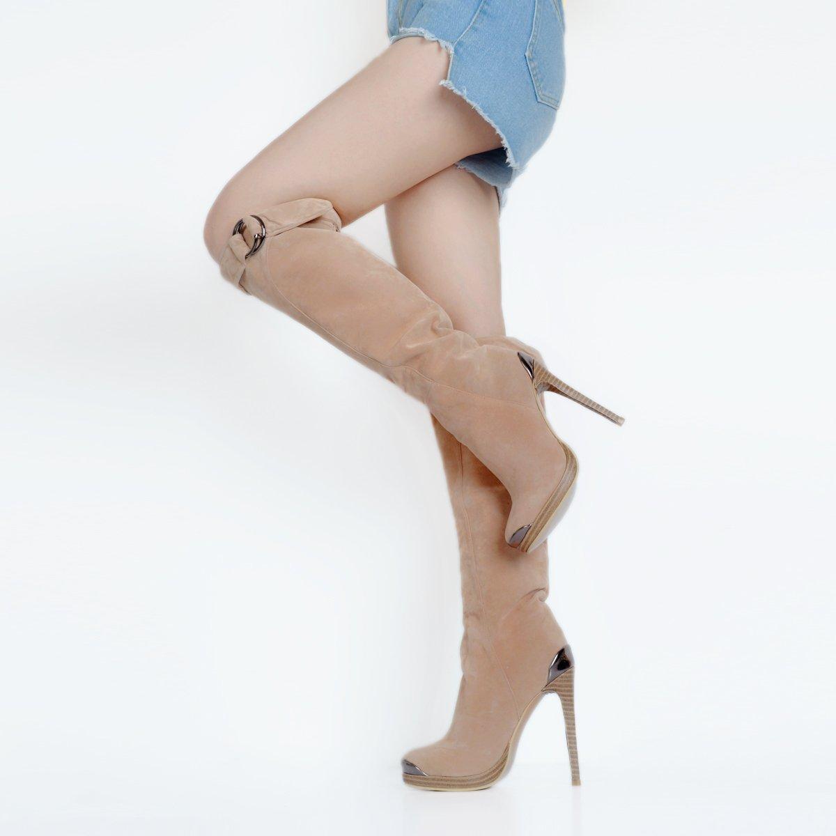 Kolnoo Damen Handgefertigte Handgefertigte Handgefertigte Glitzer Schnalle Deco High Heel Stiefel Fashion Knie Stiefely e75849